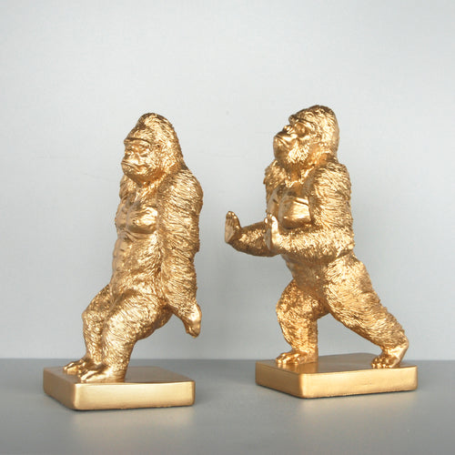 pair of gold gorilla bookends side view white moose australia