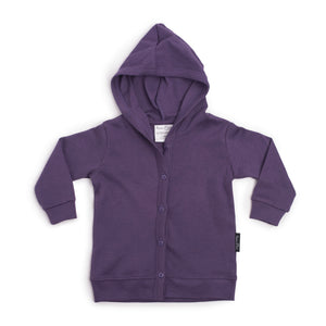 aster and oak organic cotton lightweight hooded cardigan berry purple long sleeve top autumn and winter kids clothing