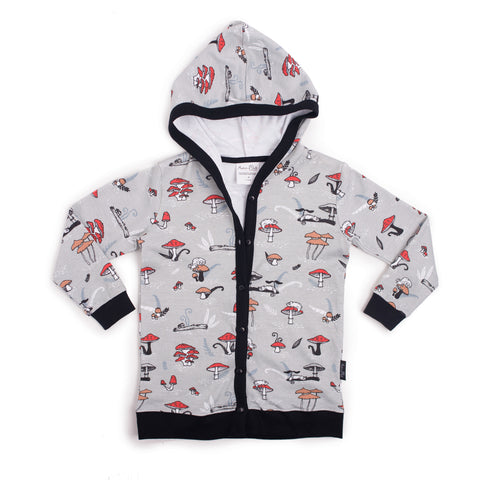 aster and oak chameleon print organic cotton lightweight cardigan jacket hooded autumn and winter kids clothing