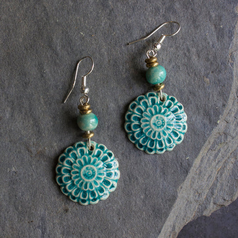Ceramic Flower Earrings - Aqua - Designed in SA