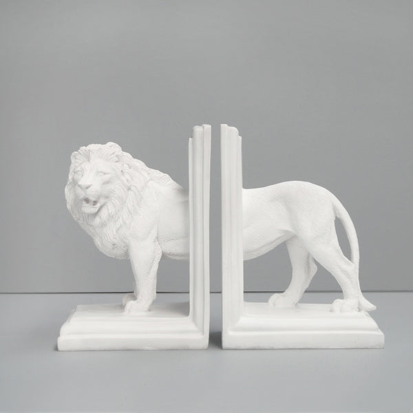 white lion resin bookends stylish bookshelf decor shelfie style quirky unique gift ideas birthday housewarming present