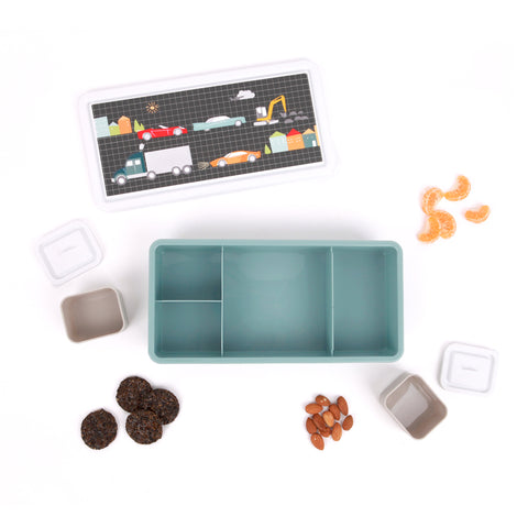 Flatlay of cars and trucks lunch box by Love Mae with nuts and other snacks