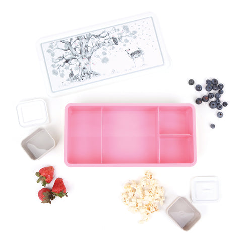 love mae enchanted forest pink bento style lunch box with strawberries and blueberries and popcorn four compartments two containers