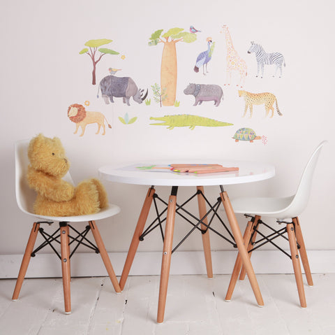 On Safari Wall Decal in Kids Playroom Bedroom and Nursery decor