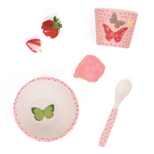 love mae bamboo baby feeding set with pretty pink flowers and butterflies flatlay with strawberries and puree