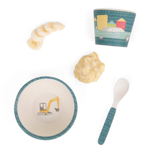flatlay cars and trucks bamboo baby feeding set Love Mae mashed banana bowl cup and spoon