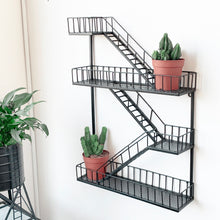 Load image into Gallery viewer, new york style fire escape metal shelf displayed with two cacti succulents in pots