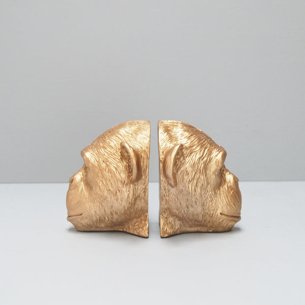 gold monkey head resin bookends book lovers storage interior style unique bookshelf decor