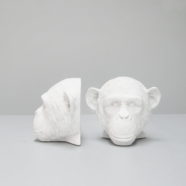white monkey head resin bookends white moose australian designed homewares and decor bookshelf book lovers gift ideas birthday housewarming quirky interior style