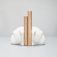 Load image into Gallery viewer, white monkey head bookends sideview with gold books home decor