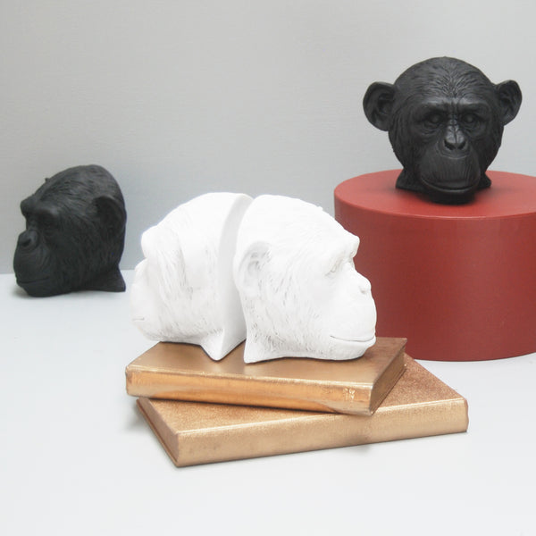 white and black monkey head bookends on gold books and red stand