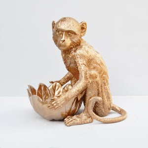 gold resin monkey holding bowl white moose australian designed home decor unique housewarming gift