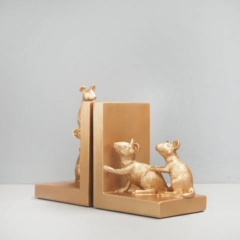 Bookends - Mouse - Gold