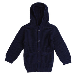 miann and co navy waffle knit hoodie cardigan autumn and winter kids clothing