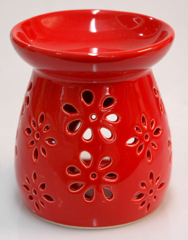 Oil Burner Daisy Cutout Red
