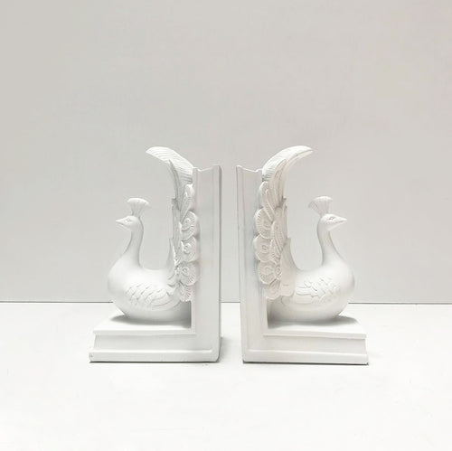 white peacock resin bookends elegant home decor bookshelf decoration book lovers gift ideas white moose designs