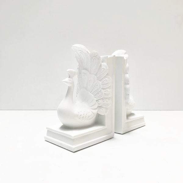 white peacock resin bookends australian designed white moose designs unique gift idea birthday housewarming book lovers stylish home decor bookshelf decor