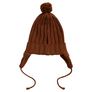 miann and co cotton chunky knit beanie in rust baby beanie