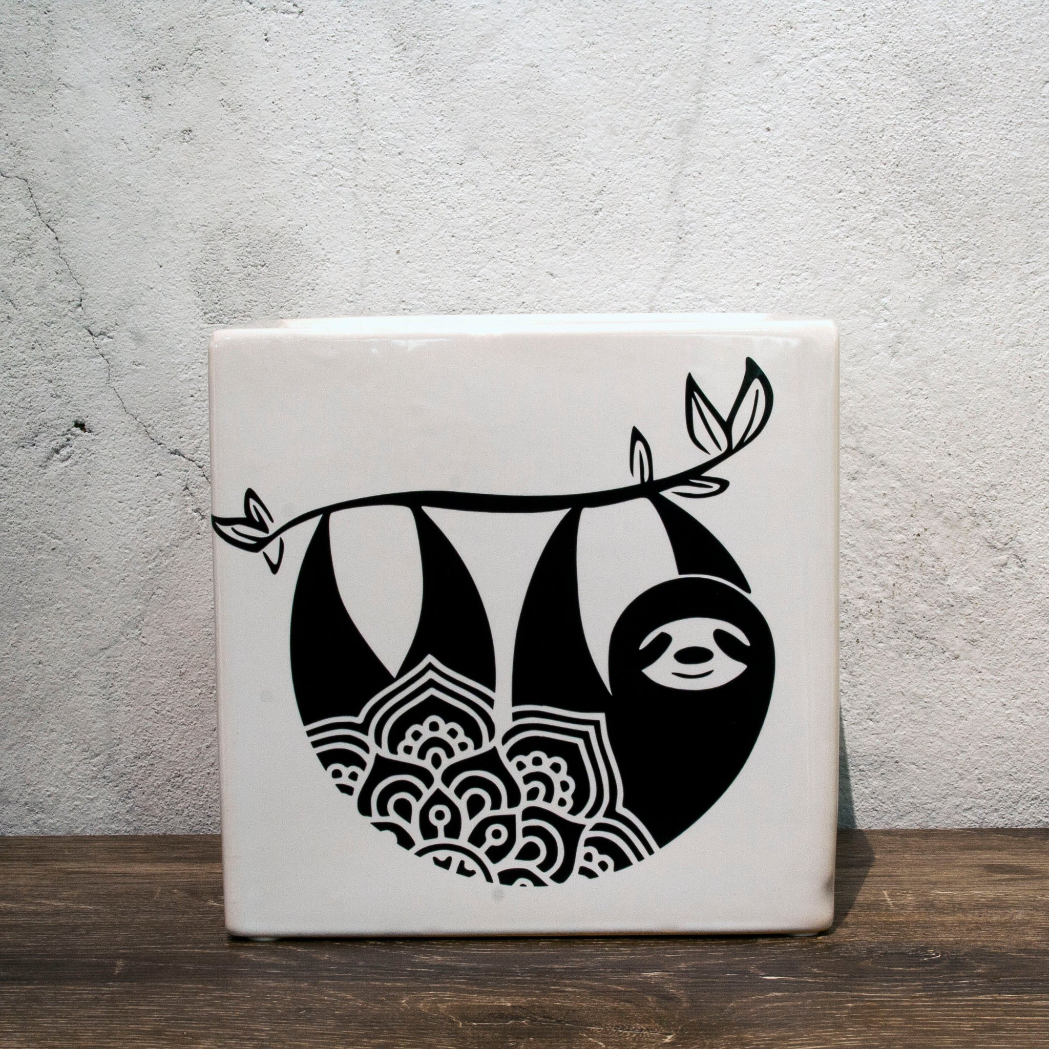 Mandala Sloth Pot Handmade by Ella Jane Glazed White Cube Pot Monochrome