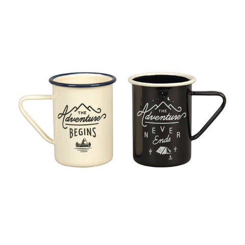 The Adventure Begins & The Adventure Never Ends - Set of 2 Tall Enamel Mugs