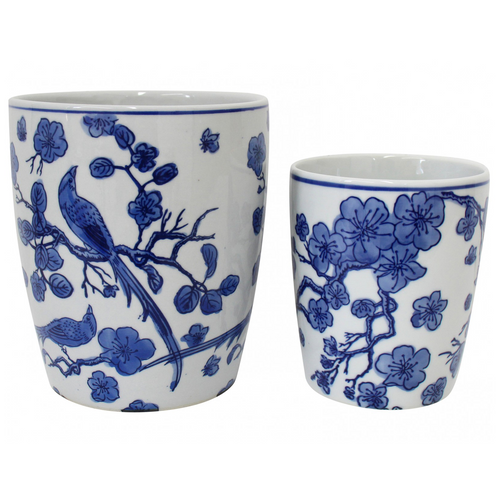 blue and white porcelain bird and blossom pot planter set of two home decor online
