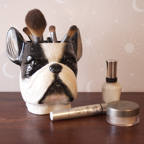 french bulldog plant pot kitchen herb pot ceramic makeup brush holder or pencil holder white moose australia