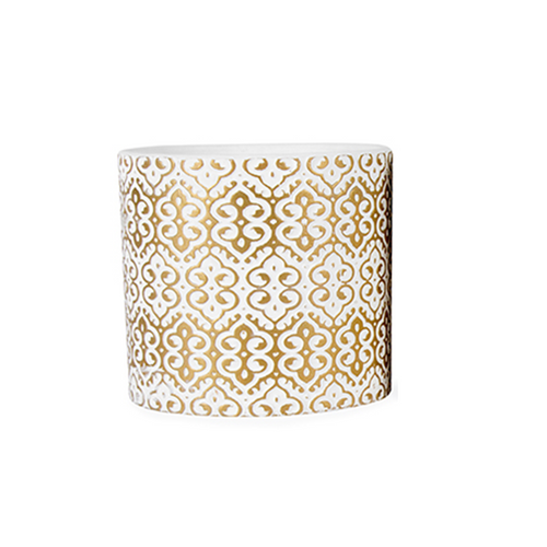 ceramic pot plant with gold pattern design fancy metallic design for home and office