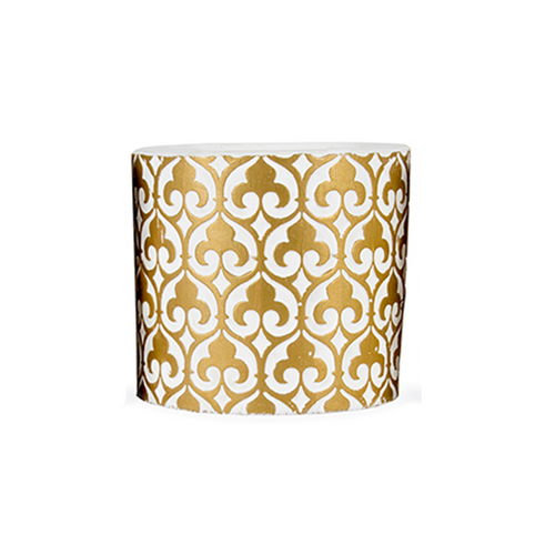 one ceramic pot with fleur de lis style gold design