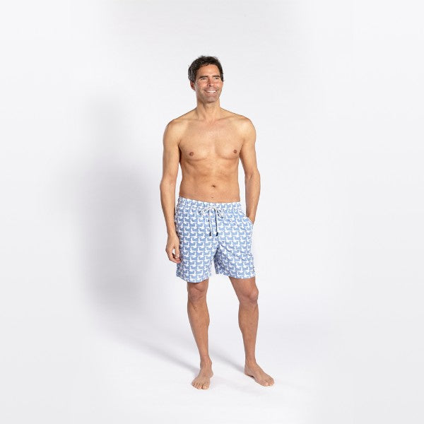 TOM & TEDDY - TOM & TEDDY MEN'S SHORTS - SEAGULLS ICE BLUE
