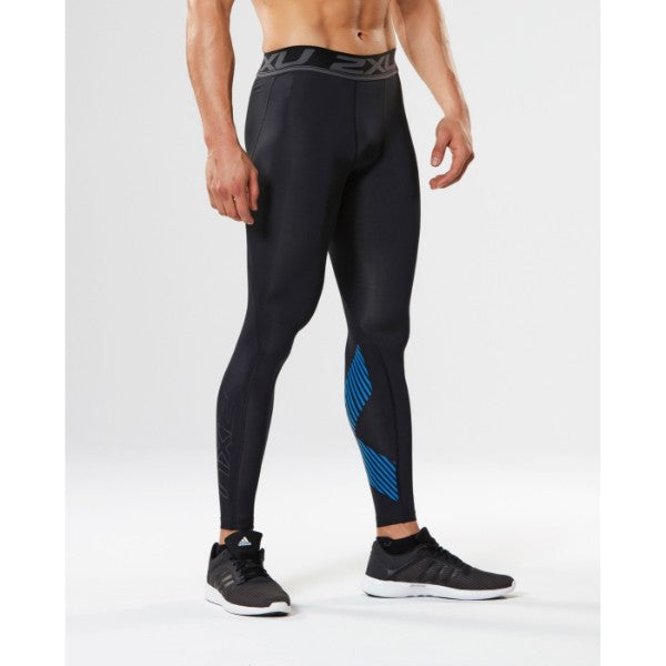2XU - Men's Compression Tights / Black / Arrow Stripe Director Blue