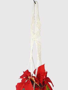 Large Long Macrame Plant Hanger/40 inch long/large hanging planter/plant basket/braided white cotton rope/001SA08/Saratoga Style - Saratoga Style