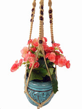 "Saratoga Style Macrame Plant Hanger 39"" 001SA03 Natural Hemp with Wooden Beads - Saratoga Style"