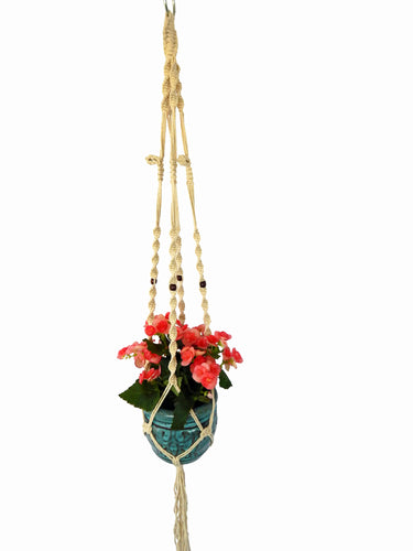 Saratoga Style Macrame Plant Hanger 46'' 001SA02 White Cotton with Wood Beads - Saratoga Style