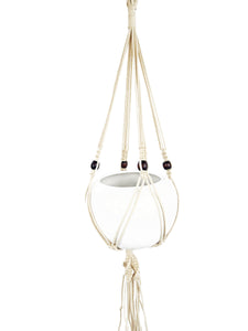 Saratoga Style Macrame Plant Hanger 43'' 001ZS06  White Cotton with Wood Beads - Saratoga Style