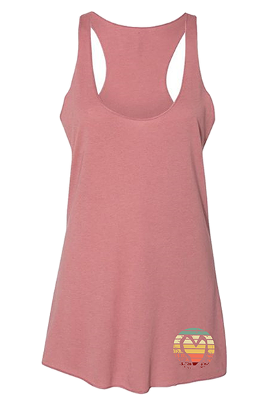 STRIPED HEART DUSTY ROSE TANK