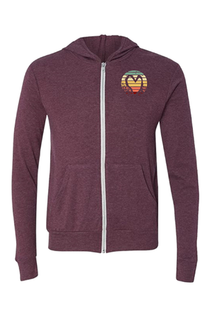 STRIPED HEART ZIP-UP