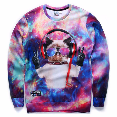 DJ Cat Galaxy 3D Print Long Sleeve Sweatshirt