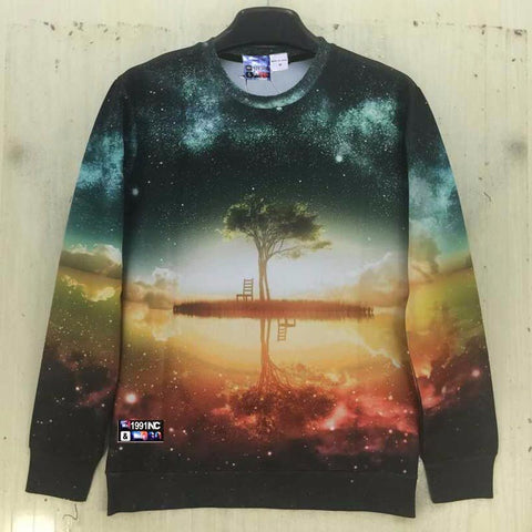 Nightfall Trees 3D Print Long Sleeve Sweatshirt