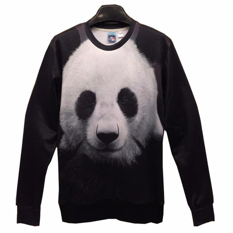 Cute Panda 3D Print Long Sleeve Sweatshirt