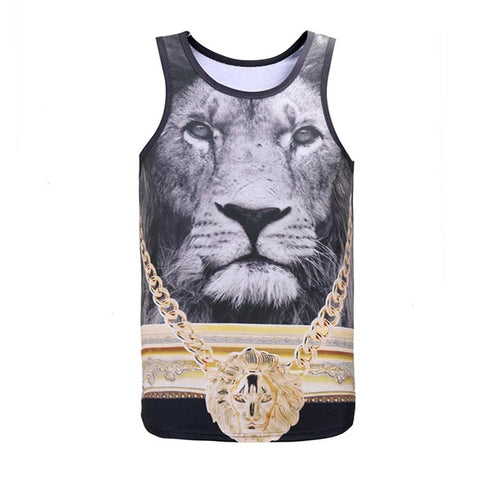 Golden Medal Lion King 3D Print Slim Cool Tank Top