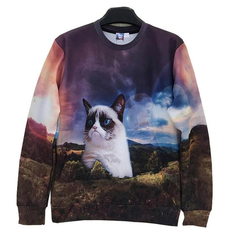 Cute Cat 3D Print Long Sleeve Sweatshirt