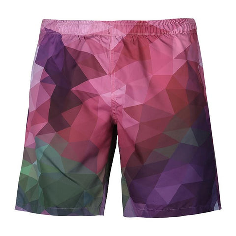 Triangle Color Blocks - 3D Digital Print Breathable Elastic Waist Shorts