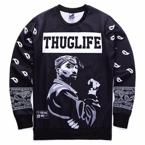 Thug Life Print Long Sleeve Sweatshirt
