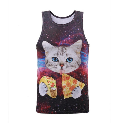 Funny Cat Eating Pizza in Space Galaxy 3D Print Slim Cool Tank Top