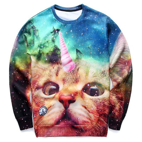 Cat Unicorn 3D Print Long Sleeve Sweatshirt