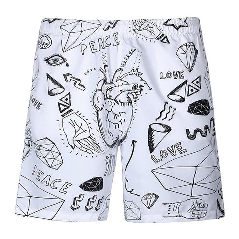 Hip Hop Beach - 3D Digital Print Breathable Elastic Waist Shorts