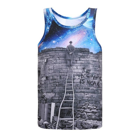 A Person Watching Meteor Shower Space Galaxy 3D Print Slim Cool Tank Top