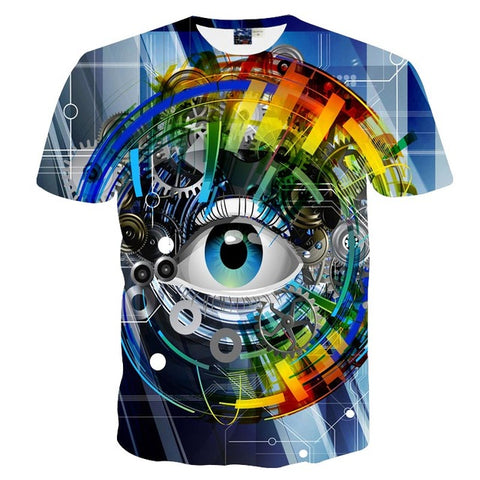 Mechanical Gears Eyes 3D Print T-shirt