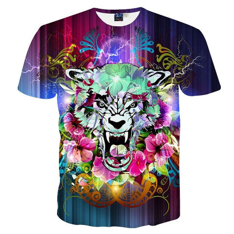 Lightning Flowers Tiger 3D Print T-shirt