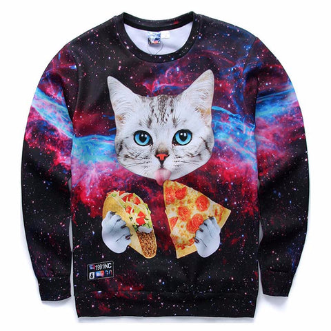 Cat in Pizza and Taco 3D Print Long Sleeve Sweatshirt